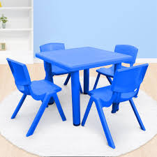 Kid's Adjustable Blue Square Table With 4 Chairs Set – OliandOla Greek Style Blue Table And Chairs Kos Dodecanese Islands Shabby Chic Kitchen Table Chairs Blue Ding Http Outdoor Restaurant With And Yellow Crete Stock Photos 24x48 Activity Set Yuycx00132recttblueegg Shop The Pagosa Springs Patio Collection On Lowescom Tables Amusing Ding Set 7 Piece 4 Kids Playset Intraspace Little Tikes Bright N Bold Free Shipping Balcony High Cushions Fniture Rst Brands Sol 3piece Bistro Setopbs3solbl The