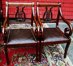 Lyre Back Chairs Antique by Fine Set 12 Regency Lyre Back Chairs Leather Seats For Sale