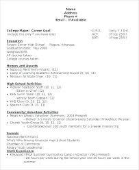 Sample Resume Without High School Diploma College Samples For Senior Students In Job