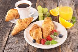 Breakfast With Croissants And Coffee Background