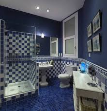 Navy Blue Bathroom With Checkered Wall Tiles And Blue Floors ... Blue Bathroom Sets Stylish Paris Shower Curtain Aqua Bathrooms Blueridgeapartmentscom Yellow And Accsories Elegant Unique Navy Plete Ideas Example Small Rugs And Gold Decor Home Decorating Beige Brown Glossy Design Popular 55 12 Best How To Decorate 23 Amazing Royal Blue Bathrooms