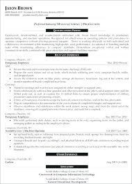 Production Operator Resume Sample Manager Cover Letter Examples