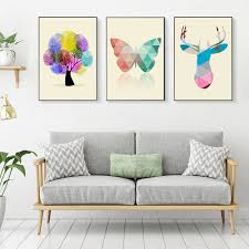 ste quadri bilder wohnzimmer poster decoration wall canvas prints home decor modern abstract elk fingerprint tree