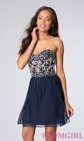 strapless homecoming dress sean short beaded blue dress promgirl