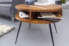 wohnling couchtisch sheesham massivholz metall 60x45x60 cm tisch wohnzimmer design beistelltisch mit ablage kleiner wohnzimmertisch rund braun