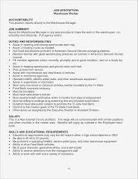 Warehouse Job Description For Resume Unique Associate Sample Ideas