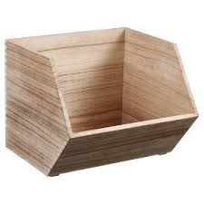 amazon com stackable wood bin large natural wooden toy box
