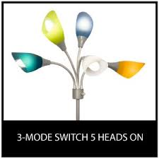 Room Essentials 5 Head Floor Lamp White by Light Accents Medusa Silver Floor Lamp With Multicolor Acrylic