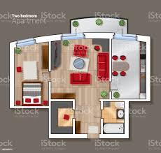 vektor draufsicht grundriss house room moderne esszimmer schlafzimmer und badezimmer interieur mit möbel stock vektor und mehr bilder