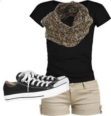 Summer Clothes Black Tee Khaki Shorts Leopard Scarf Minus The Shoes