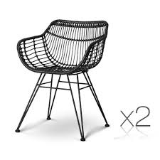 Artiss Set Of 2 PE Wicker Dining Chair - Black Lotta Ding Chair Black Set Of 2 Source Contract Chloe Alinum Wicker Lilo Chairblack Rattan Chairs Uk Design Ideas Nairobi Woven Side Or Natural Flight Stream Pe Outdoor Modern Hampton Bay Mix And Match Brown Stackable