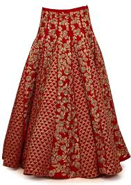 blood red lehenga in gota lace and zari embroidery kalkifashion