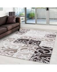 moderner designer glitzer wohnzimmer teppich toscana braun größe 80x150 cm
