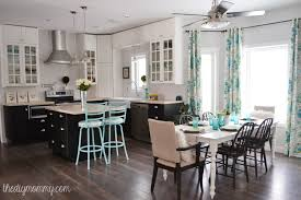 Kitchen Curtain Ideas Diy by A Black White And Turquoise Diy Kitchen Design With Ikea Cabinets