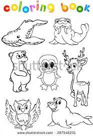 Animals Wild Set Fourth Coloring Book Illustration For Children