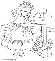 Girl Mailing Valentines Day Card Coloring Page