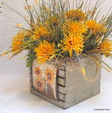 Fall Silk Flower Arrangement In Wood Box With By EverythingFloral