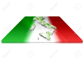 A Simple 3D Map Of Italy On 3d Flag Stock Photo