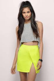 cute neon yellow skirt neon yellow skirt slit skirt neon