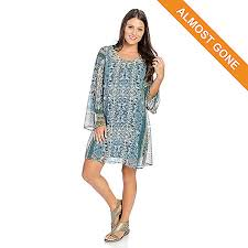 733 098 One World Printed Chiffon Bell Sleeve Knit Lined Dress W Removable