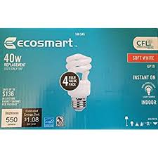 Self Ballasted Lamp 61y6 by Ecosmart 14w 5000k Spiral Cfl Light Bulb Daylight 4 Pack Grow