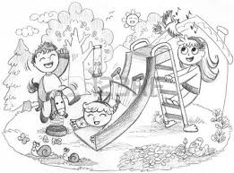 Kids On Playground Clipart Black And White 5
