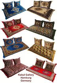 3er set 1x matratze 2 kissen afghan nomaden sitzkissen teppich orientalische sitzecke sofa bodenkissen sitzgruppe 190x75 cm توشک beige