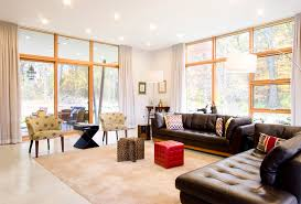 modern leather sofa living room transitional with beige rug beige