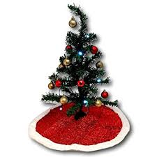 Christmas House Miniature Tree Bundle With Skirt 2 Sets Of Shatter Proof