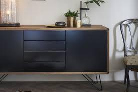 design sideboard in holz und schwarz beine aus schwarz