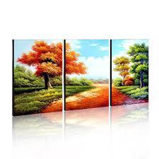 Handmade Oil Painting Wall Art Home Decoration Landscape Decor 3 Piece Canvas Wood Frame