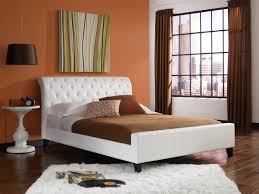 King Platform Bed With Fabric Headboard by Bedroom Interactive Bedroom Decoration Using Light Cream Fabric