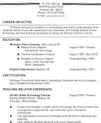 Teachers Resume Objectives Elementary Teacher Objective Examples Entry Level Business Substitute