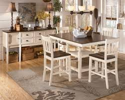 SKU D583-32-224(4)-60-T Casual Pub Table Set Cottage White & Brown ...