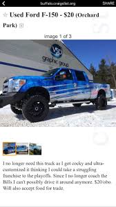 This Craigslist Posting Trolls Rex Ryan And His Bills-themed Truck This Craigslist Posting Trolls Rex Ryan And His Billsthemed Truck 20 New Images Buffalo Craigslist Cars And Trucks By Owner Truck Al Ny Dodge Snow Plow For Sale All About Houston Car Models 2019 20 Elegant Used Gmc Sierra 1500 Lol It Gta 4 Fbi Buffalo What Kinda Post Is That Carsjpcom South Bay Selling A Or Is Question Of Texas Military Vehicles For Cars Trucks By Owner Wordcarsco Peterbilt Box Straight