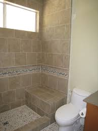 Bathroom Tile Floor Ideas For Small Bathrooms by Shower Stall Without Door With Border Tile And Chair For Simple