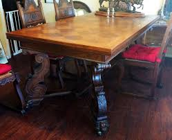 Antique Dining Table And Chairs Carved Legs And Chairs, Oak, Parquet ...