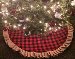 Buffalo Plaid Burlap Ruffle Christmas Tree Skirt 45 46 Red And Black Check Flannel Cotton Natural Farmhouse Cabin Decor