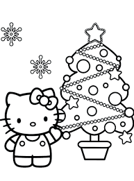Hello Kitty Coloring Pages Birthday Colouring Christmas Tree Bad Color Full Size