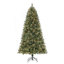 5ft Pre Lit White Christmas Tree by Shop Holiday Living 7 5 Ft 1 244 Count Pre Lit York Pine