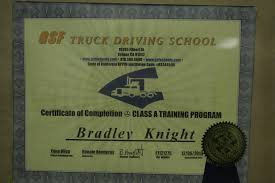 GSF Trucking Driving School Certification Of Completion Class A ...