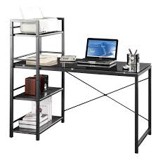 Tempered Glass Computer Desk by Cool Computer Desk With Shelves On Innovex Round Shelf Glass