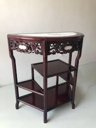 Rosewood Half Moon Table With Marble, Vintage & Collectibles ...