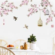 großhandel vögel fliegen unter blumen äste wandaufkleber wohnzimmer schlafzimmer hintergrund dekor wandbild poster kunst vogelkäfig wandtattoo