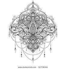 Hand Drawn Ornamental Lotus Flower For Adult Coloring Book Tattoo T Shirt Design