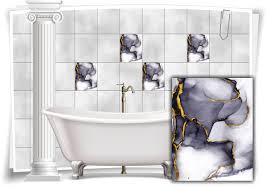 fliesen aufkleber folie marmor öl ölfarben abstrakt bad gold grau wc deko küche