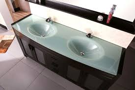 Waterfall Vanity Dresser Set by Design Element Waterfall Double Drop In Integrated Tempered Glass