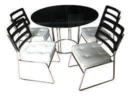 Chromcraft Dining Room Chairs by Chromcraft Smoked Glass Table And 4 Lucite Chairs Chairish