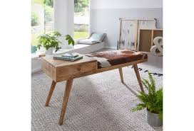 wohnling sitzbank salim 100x52x38 cm kuhfell massivholz im retro stil polsterbank mit stauraum