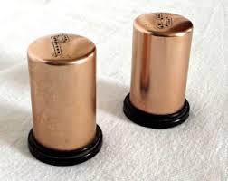 Mid Century Aluminum Salt And Pepper Shakers Copper Tone Retro Kitchen Decor